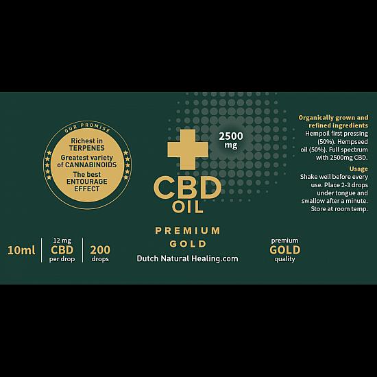 Premium Gold CBD Olie 10ml - 25% (2500mg)