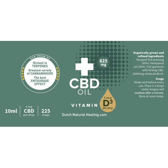 CBD olie + Vitamine D3 10ml - 8% (825mg)
