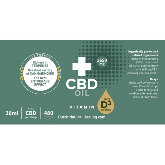CBD oil + Vitamin D3 20ml - 8% (1650mg)