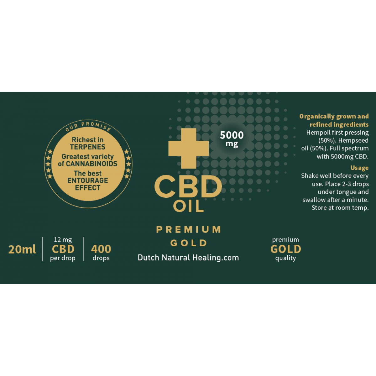CBD Olie 20ml 5000mg Gold